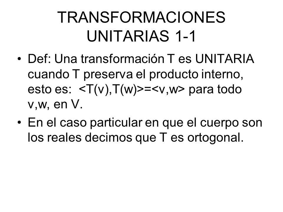 TRANSFORMACIONES UNITARIAS 1-1 Def: Una transformación T es UNITARIA cuando T preserva el producto interno, esto es: = para todo v,w, en V.