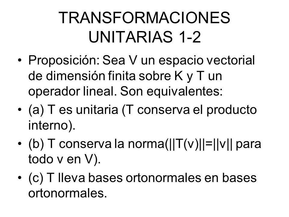TRANSFORMACIONES UNITARIAS 1-3 (d) T lleva una base ortonormal en otra base ortonormal de V.
