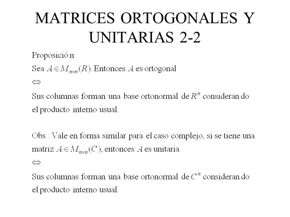 MATRICES ORTOGONALES Y UNITARIAS 2-2