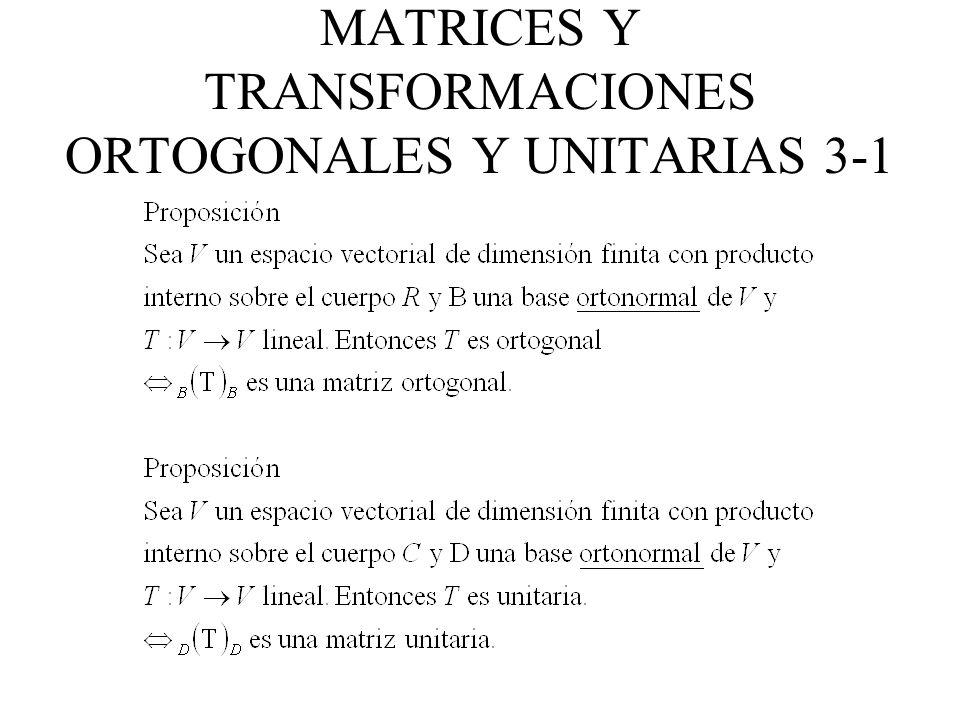 MATRICES Y TRANSFORMACIONES ORTOGONALES Y UNITARIAS 3-2