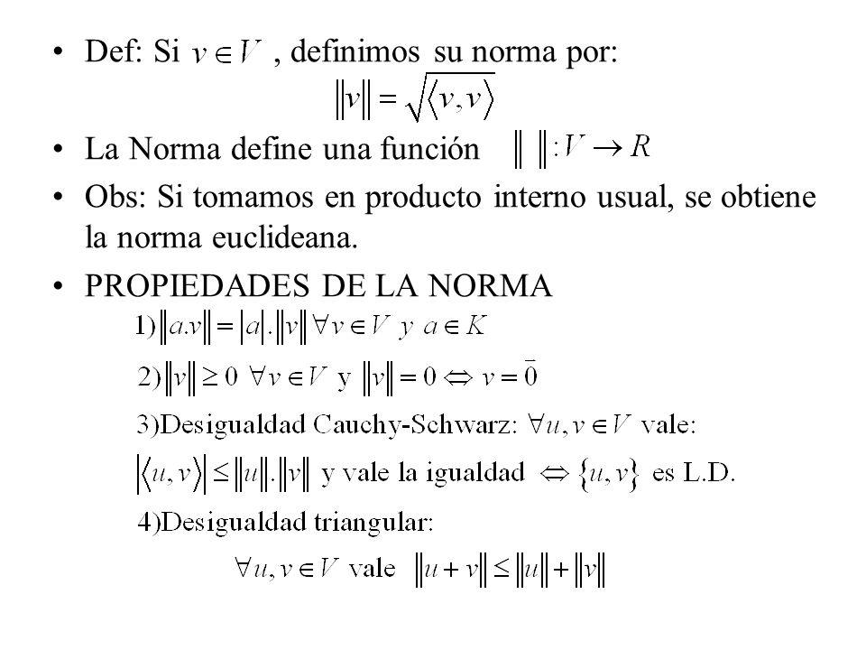 Def: Si, definimos su norma por: La Norma define una función Obs: Si tomamos en producto interno usual, se obtiene la norma euclideana. PROPIEDADES DE