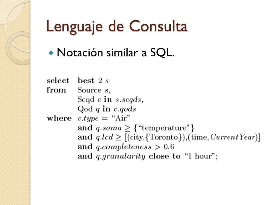 Lenguaje de Consulta Notación similar a SQL.
