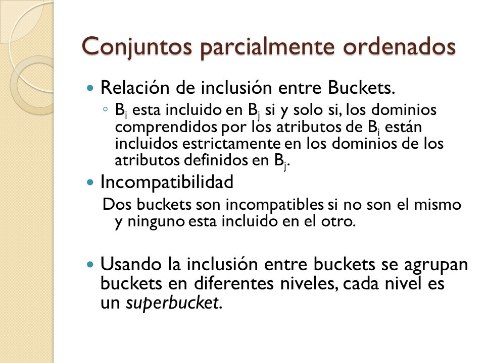 Conjuntos parcialmente ordenados Relación de inclusión entre Buckets.
