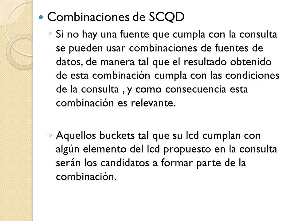 Combinaciones de SCQD Si no hay una fuente que cumpla con la consulta se pueden usar combinaciones de fuentes de datos, de manera tal que el resultado obtenido de esta combinación cumpla con las condiciones de la consulta, y como consecuencia esta combinación es relevante.