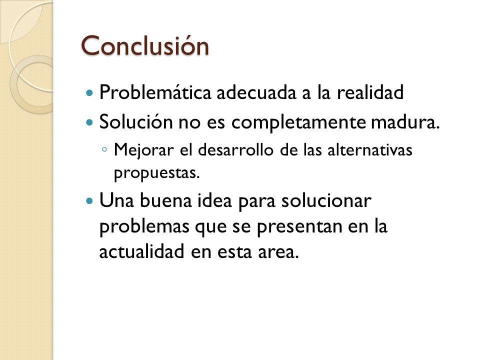 Conclusión Problemática adecuada a la realidad Solución no es completamente madura.