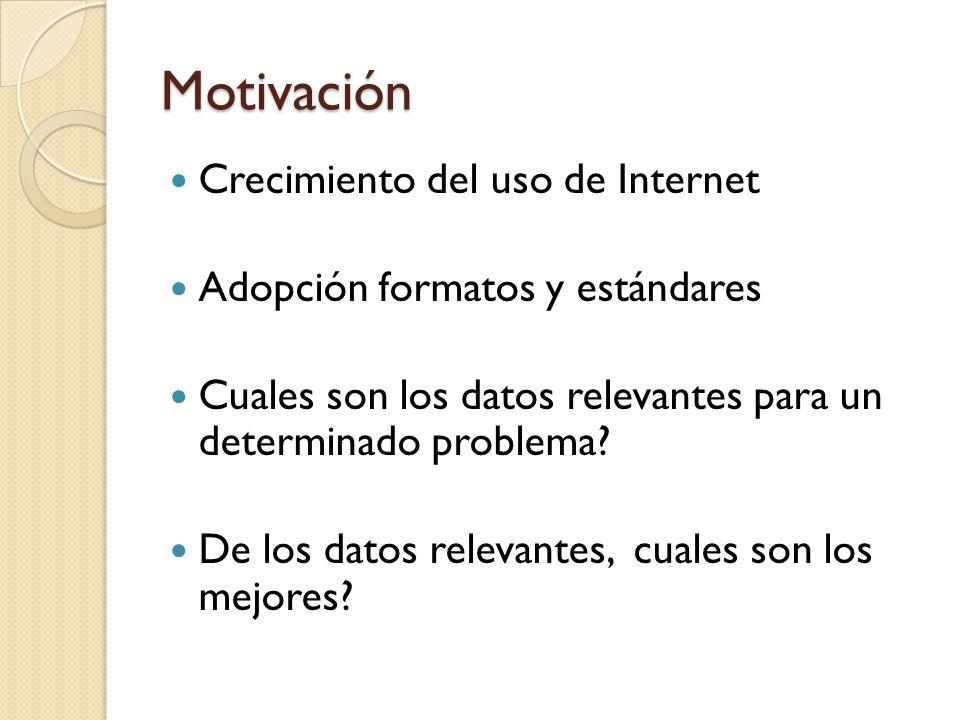 Motivación Crecimiento del uso de Internet Adopción formatos y estándares Cuales son los datos relevantes para un determinado problema.