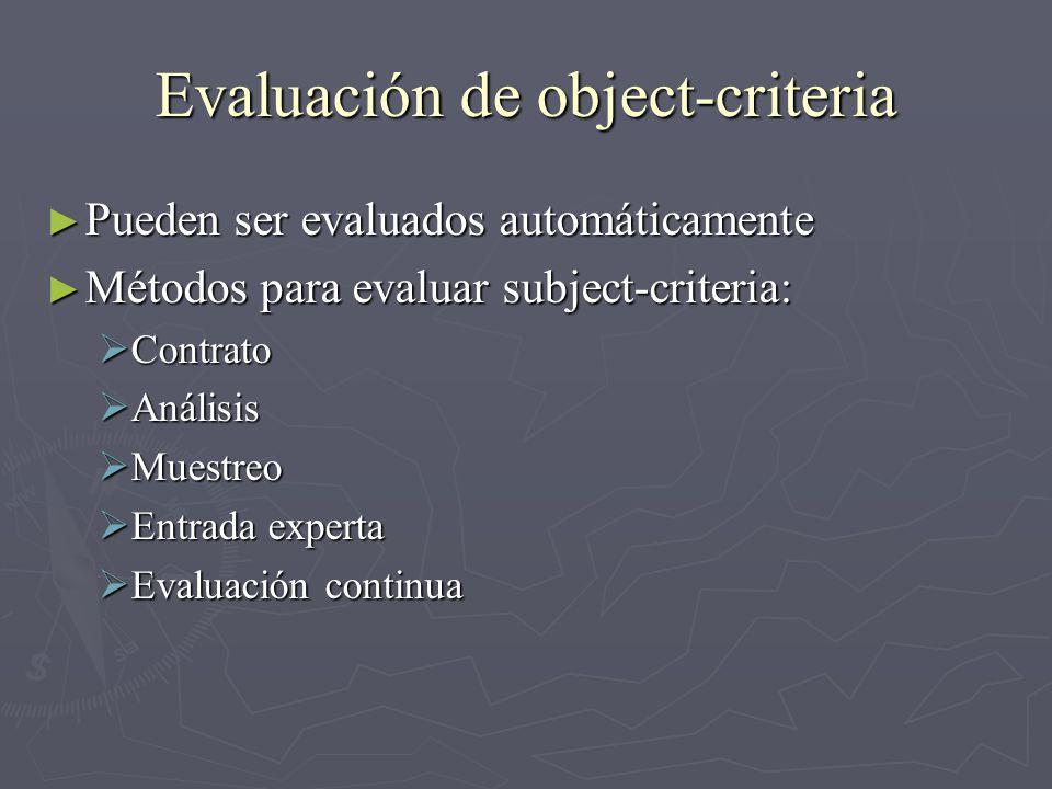 Evaluación de object-criteria Pueden ser evaluados automáticamente Pueden ser evaluados automáticamente Métodos para evaluar subject-criteria: Métodos para evaluar subject-criteria: Contrato Contrato Análisis Análisis Muestreo Muestreo Entrada experta Entrada experta Evaluación continua Evaluación continua