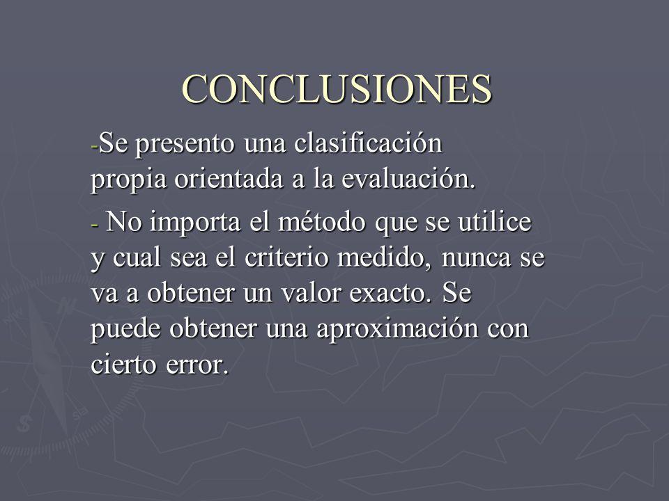 CONCLUSIONES - Se presento una clasificación propia orientada a la evaluación. - No importa el método que se utilice y cual sea el criterio medido, nu