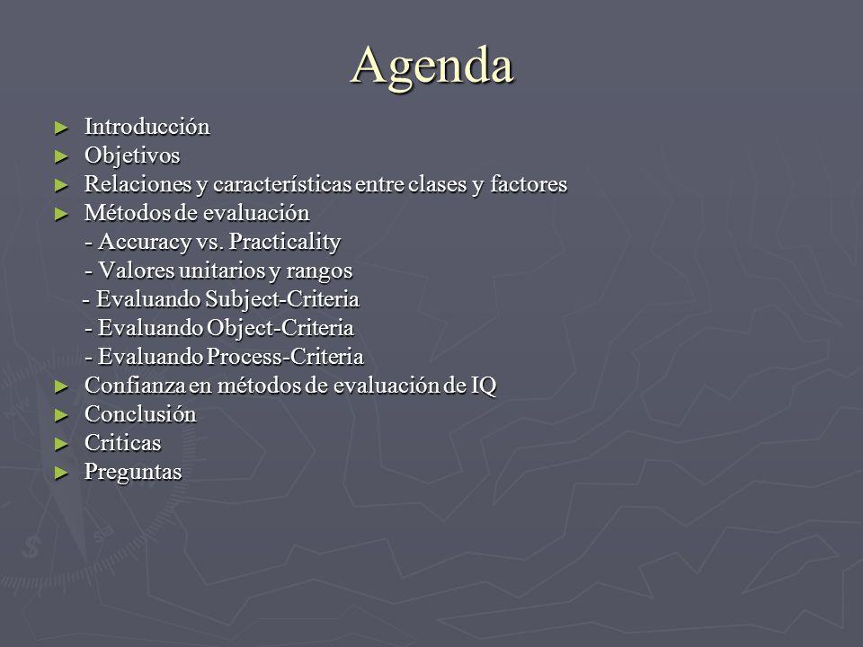 Agenda Introducción Introducción Objetivos Objetivos Relaciones y características entre clases y factores Relaciones y características entre clases y factores Métodos de evaluación Métodos de evaluación - Accuracy vs.