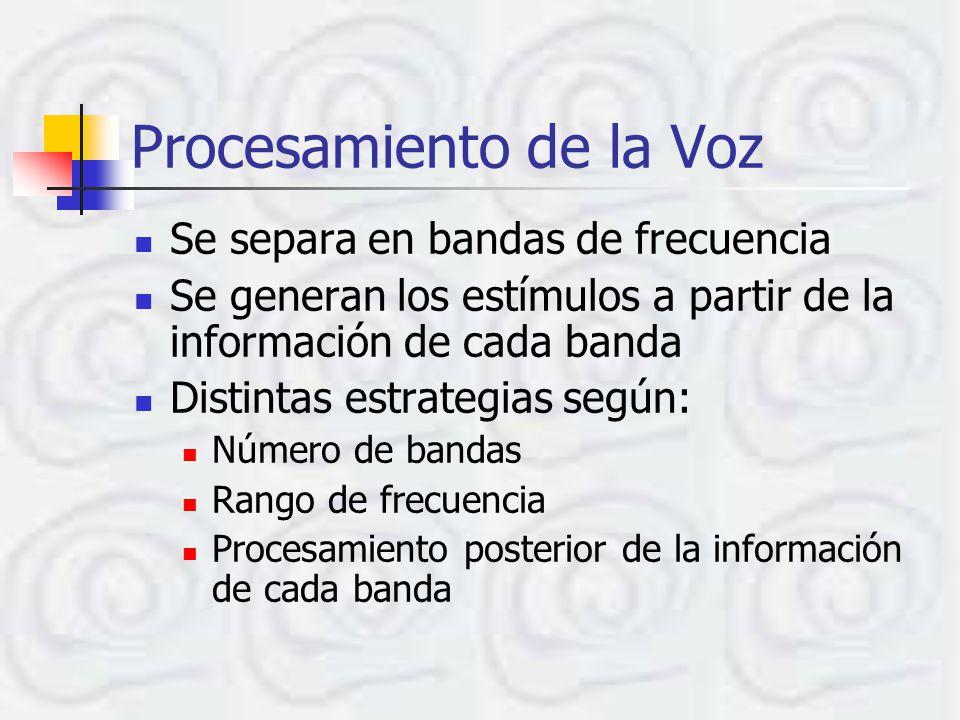 Procesamiento de la Voz Se separa en bandas de frecuencia Se generan los estímulos a partir de la información de cada banda Distintas estrategias según: Número de bandas Rango de frecuencia Procesamiento posterior de la información de cada banda