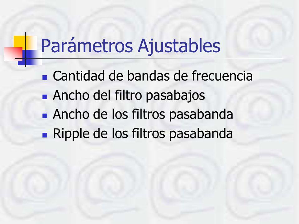 Parámetros Ajustables Cantidad de bandas de frecuencia Ancho del filtro pasabajos Ancho de los filtros pasabanda Ripple de los filtros pasabanda