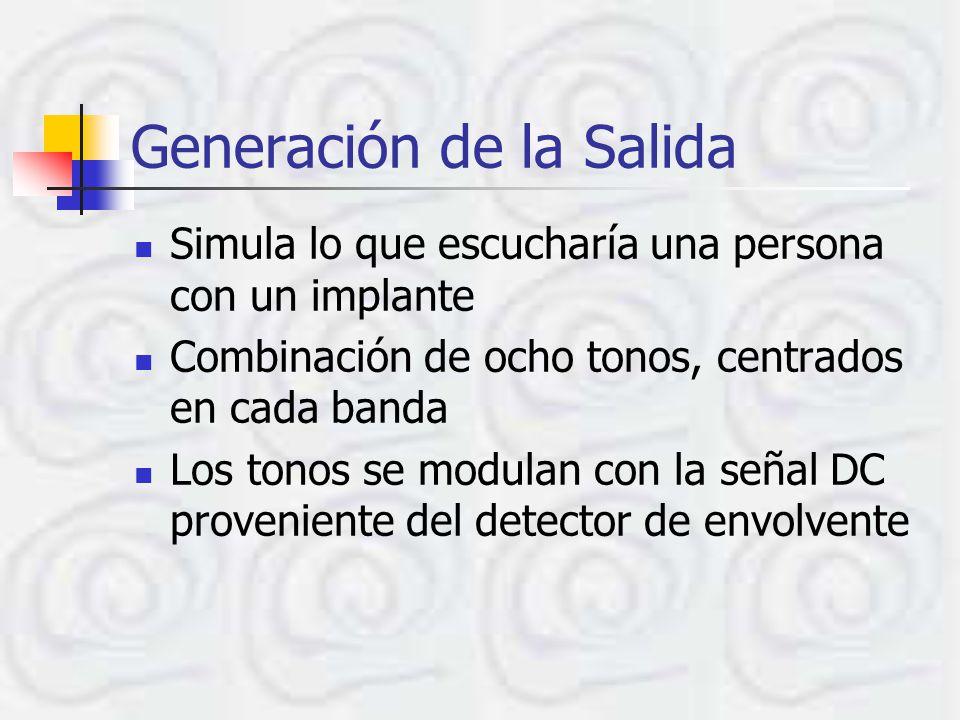 Generación de la Salida Simula lo que escucharía una persona con un implante Combinación de ocho tonos, centrados en cada banda Los tonos se modulan con la señal DC proveniente del detector de envolvente