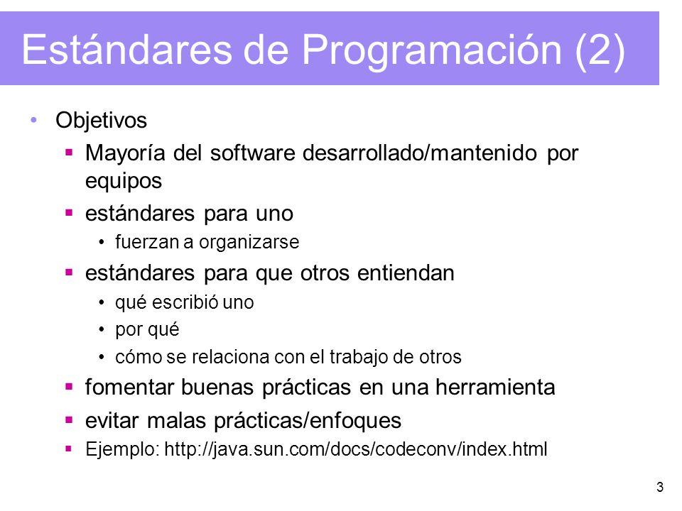 3 Estándares de Programación (2) Objetivos Mayoría del software desarrollado/mantenido por equipos estándares para uno fuerzan a organizarse estándare