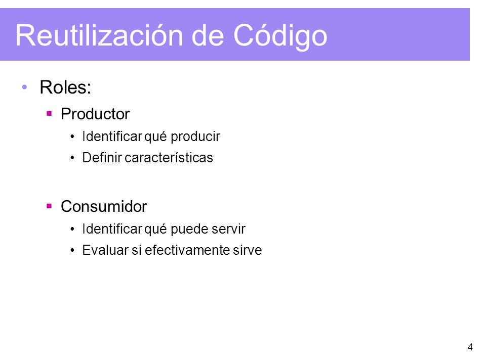 4 Reutilización de Código Roles: Productor Identificar qué producir Definir características Consumidor Identificar qué puede servir Evaluar si efectiv