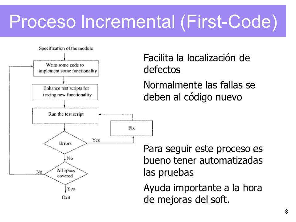 8 Proceso Incremental (First-Code) Facilita la localización de defectos Normalmente las fallas se deben al código nuevo Para seguir este proceso es bu