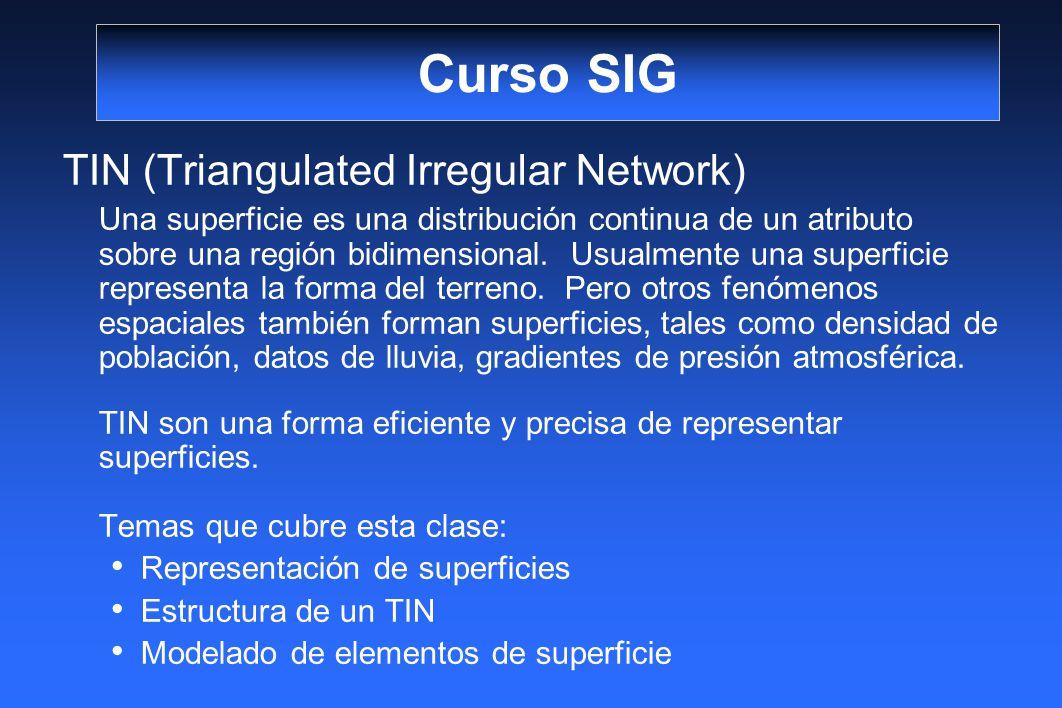 Curso SIG TIN (Triangulated Irregular Network) Una superficie es una distribución continua de un atributo sobre una región bidimensional. Usualmente u