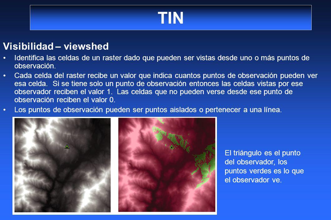 TIN Visibilidad – viewshed Identifica las celdas de un raster dado que pueden ser vistas desde uno o más puntos de observación. Cada celda del raster