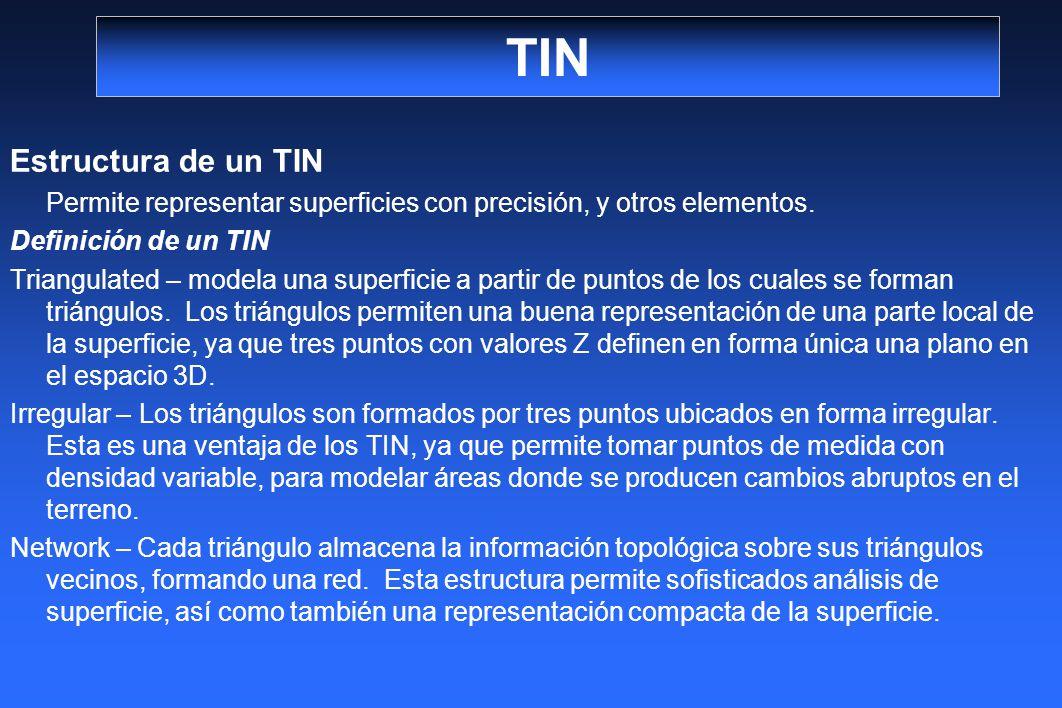 TIN Estructura de un TIN Permite representar superficies con precisión, y otros elementos. Definición de un TIN Triangulated – modela una superficie a