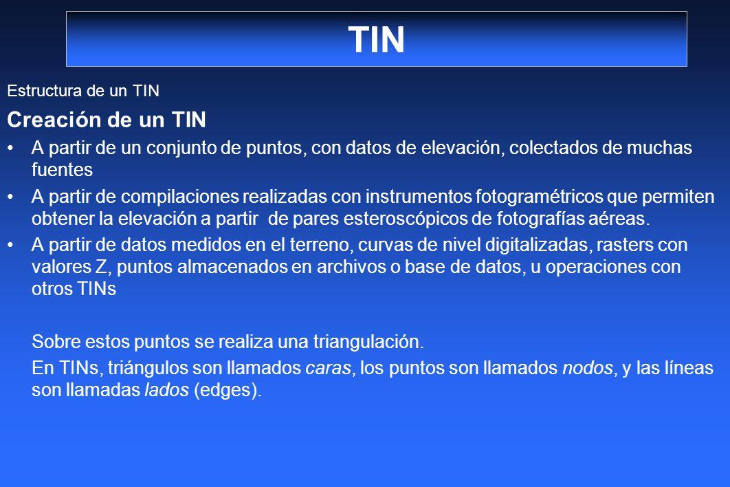 TIN Estructura de un TIN Creación de un TIN A partir de un conjunto de puntos, con datos de elevación, colectados de muchas fuentes A partir de compil