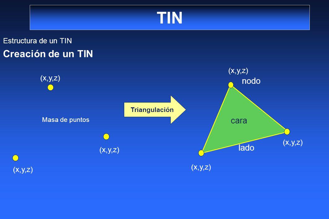 TIN Estructura de un TIN Creación de un TIN Triangulación (x,y,z) Masa de puntos nodo lado cara