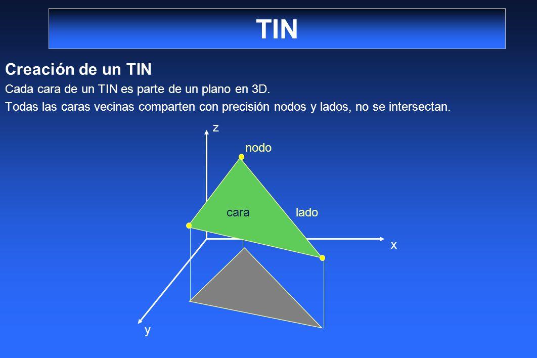 TIN Creación de un TIN Cada cara de un TIN es parte de un plano en 3D. Todas las caras vecinas comparten con precisión nodos y lados, no se intersecta