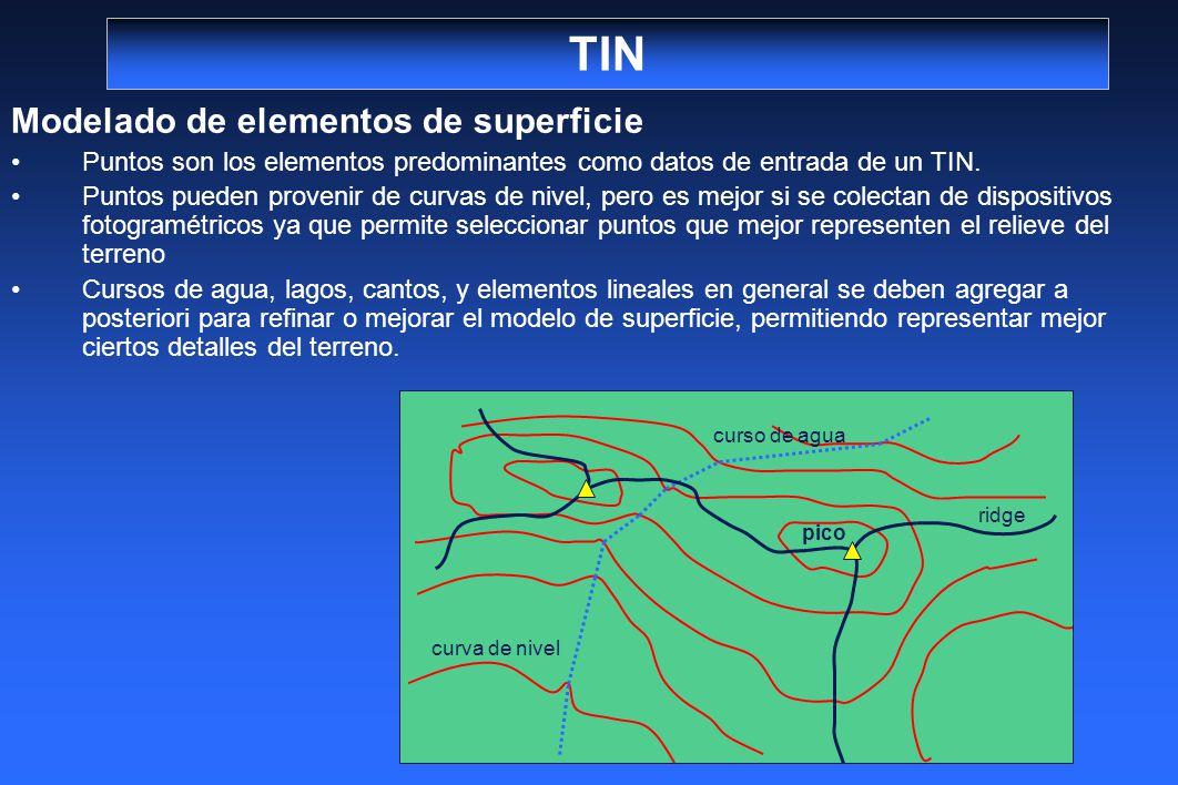TIN Modelado de elementos de superficie Puntos son los elementos predominantes como datos de entrada de un TIN. Puntos pueden provenir de curvas de ni