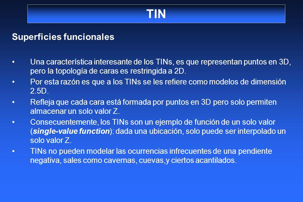 TIN Superficies funcionales Una característica interesante de los TINs, es que representan puntos en 3D, pero la topología de caras es restringida a 2
