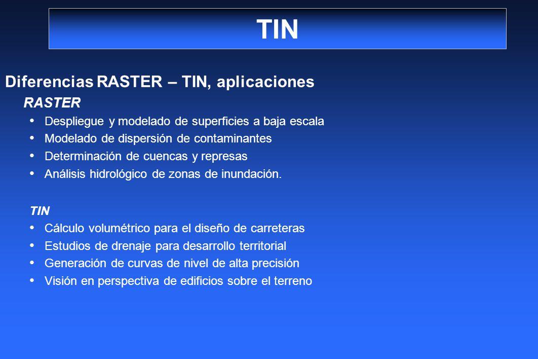TIN Diferencias RASTER – TIN, aplicaciones RASTER Despliegue y modelado de superficies a baja escala Modelado de dispersión de contaminantes Determina