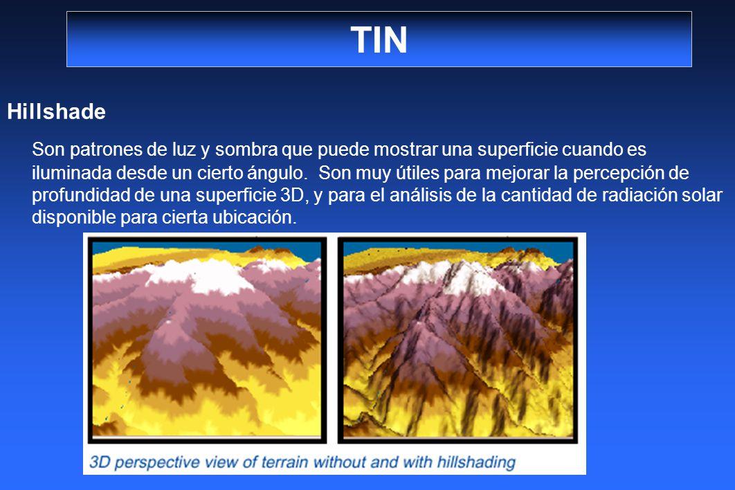TIN Hillshade Son patrones de luz y sombra que puede mostrar una superficie cuando es iluminada desde un cierto ángulo. Son muy útiles para mejorar la