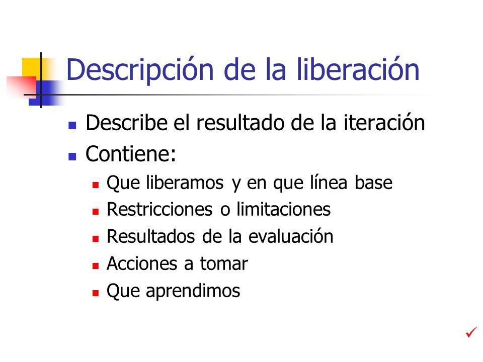 Descripción de la liberación Describe el resultado de la iteración Contiene: Que liberamos y en que línea base Restricciones o limitaciones Resultados de la evaluación Acciones a tomar Que aprendimos