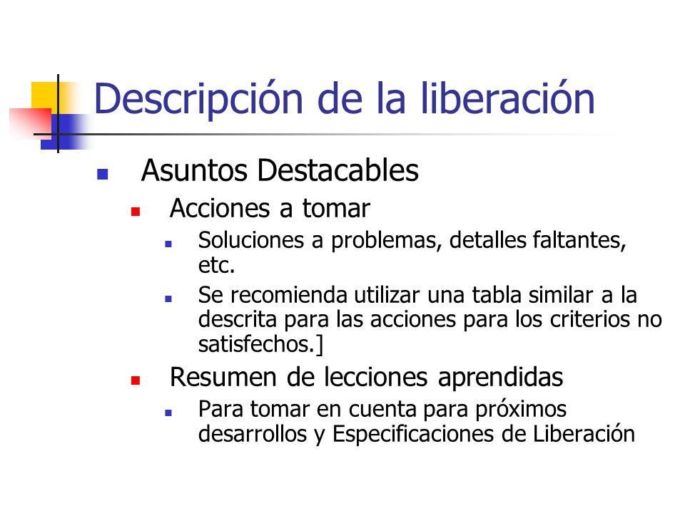Descripción de la liberación Asuntos Destacables Acciones a tomar Soluciones a problemas, detalles faltantes, etc.