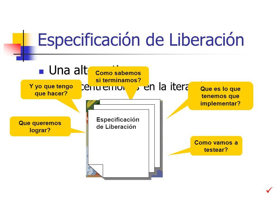 Especificación de Liberación Una alternativa… Concentrémonos en la iteración Que es lo que tenemos que implementar.