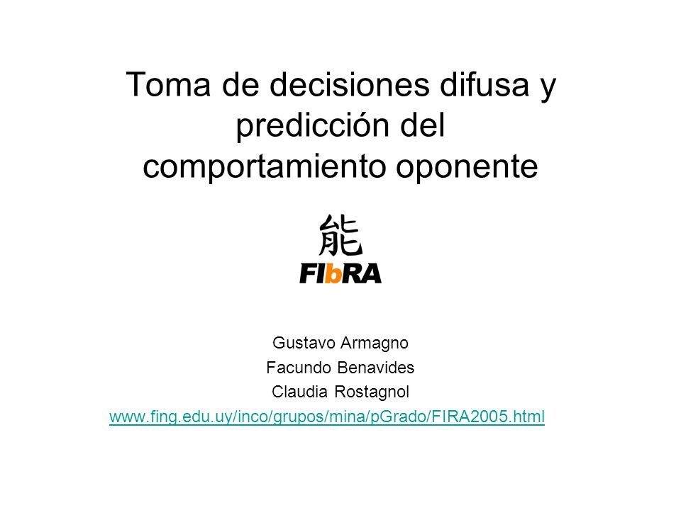 Toma de decisiones difusa y predicción del comportamiento oponente Gustavo Armagno Facundo Benavides Claudia Rostagnol www.fing.edu.uy/inco/grupos/mina/pGrado/FIRA2005.html