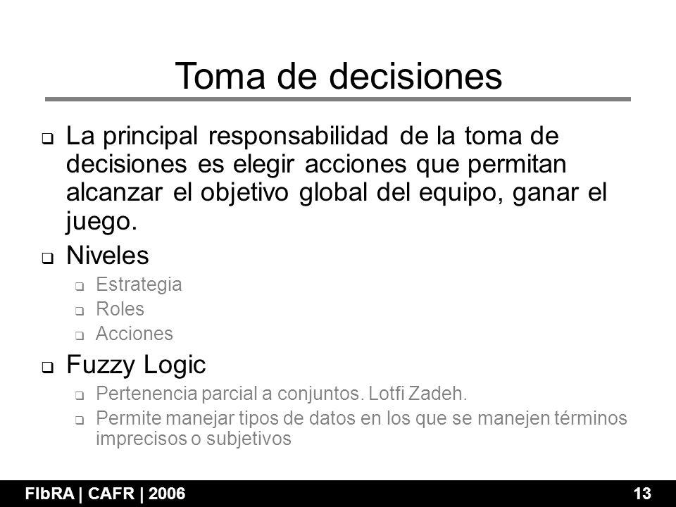 La principal responsabilidad de la toma de decisiones es elegir acciones que permitan alcanzar el objetivo global del equipo, ganar el juego.