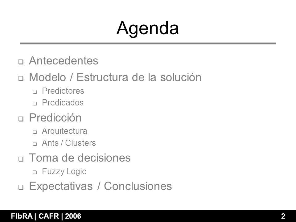 Agenda FIbRA | CAFR | 2006 2 Antecedentes Modelo / Estructura de la solución Predictores Predicados Predicción Arquitectura Ants / Clusters Toma de decisiones Fuzzy Logic Expectativas / Conclusiones