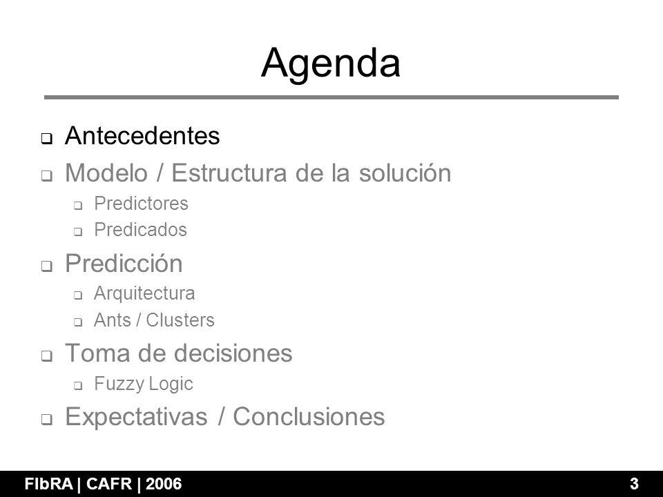 Agenda FIbRA | CAFR | 2006 3 Antecedentes Modelo / Estructura de la solución Predictores Predicados Predicción Arquitectura Ants / Clusters Toma de decisiones Fuzzy Logic Expectativas / Conclusiones