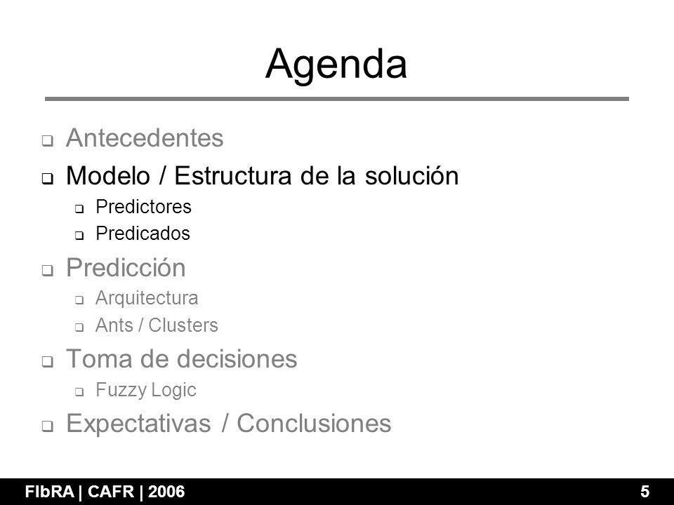 Agenda FIbRA | CAFR | 2006 5 Antecedentes Modelo / Estructura de la solución Predictores Predicados Predicción Arquitectura Ants / Clusters Toma de decisiones Fuzzy Logic Expectativas / Conclusiones