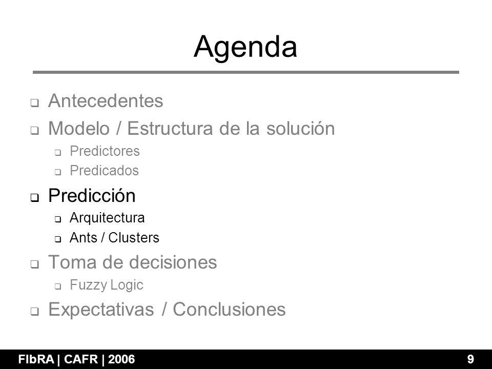 Agenda FIbRA | CAFR | 2006 9 Antecedentes Modelo / Estructura de la solución Predictores Predicados Predicción Arquitectura Ants / Clusters Toma de decisiones Fuzzy Logic Expectativas / Conclusiones
