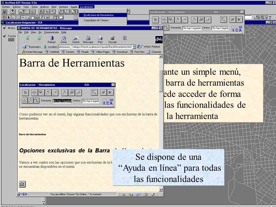 Mediante un simple menú, y una barra de herramientas se puede acceder de forma fácil a las funcionalidades de la herramienta Se dispone de una Ayuda en línea para todas las funcionalidades