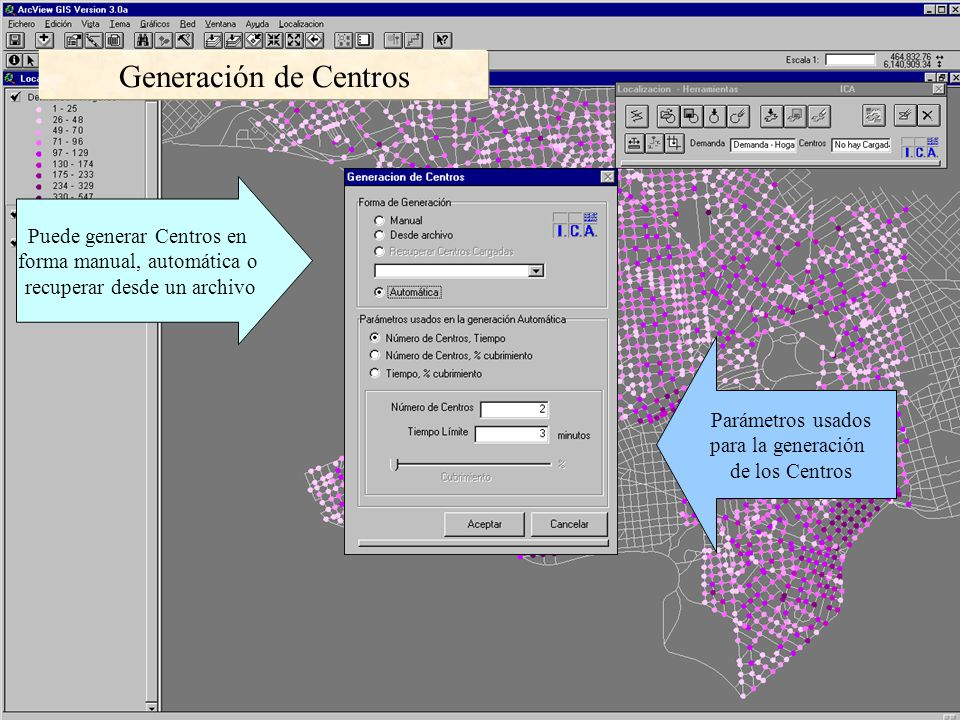Generación de Centros Puede generar Centros en forma manual, automática o recuperar desde un archivo Parámetros usados para la generación de los Centros