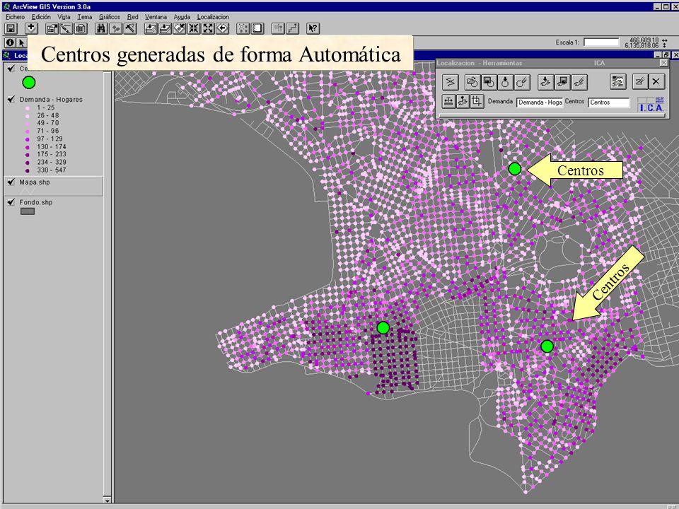 A través de las Areas de Servicios se visualizan las coberturas de cada Centro Las coberturas de los Centros se discriminan según los radios de acción (en tiempo).