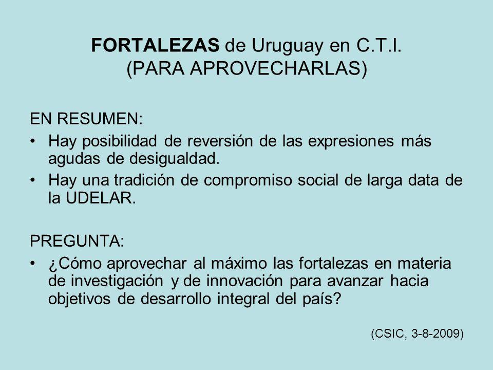 FORTALEZAS de Uruguay en C.T.I. (PARA APROVECHARLAS) EN RESUMEN: Hay posibilidad de reversión de las expresiones más agudas de desigualdad. Hay una tr