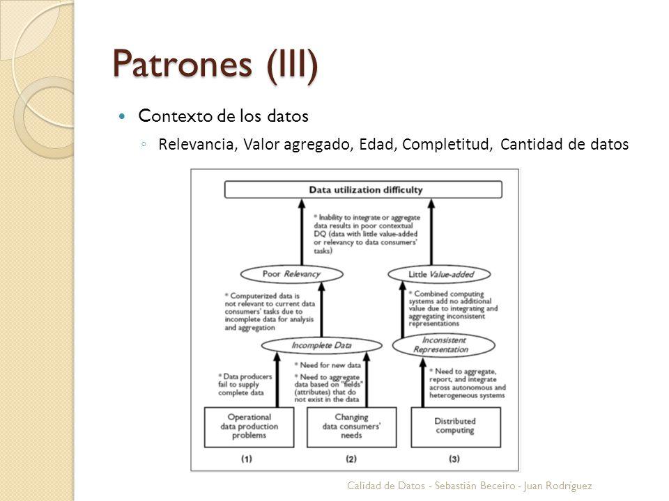 Patrones (III) Contexto de los datos Relevancia, Valor agregado, Edad, Completitud, Cantidad de datos Calidad de Datos - Sebastián Beceiro - Juan Rodr