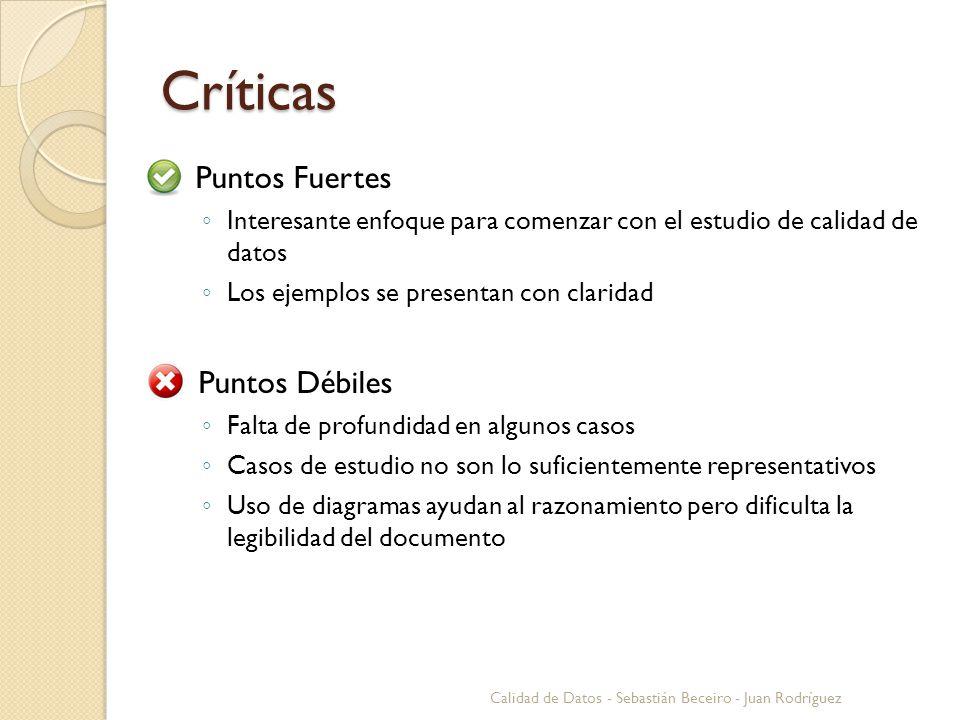 Críticas Puntos Fuertes Interesante enfoque para comenzar con el estudio de calidad de datos Los ejemplos se presentan con claridad Puntos Débiles Fal