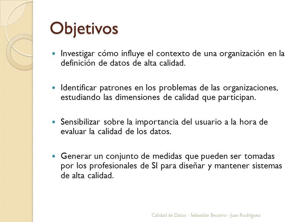 Objetivos Investigar cómo influye el contexto de una organización en la definición de datos de alta calidad. Identificar patrones en los problemas de