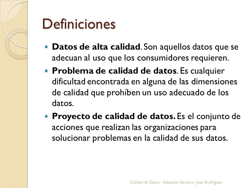 Definiciones (II) Categorías y Dimensiones Calidad de Datos - Sebastián Beceiro - Juan Rodríguez CategoríasDimensiones IntrínsecaPrecisión, Objetividad, Confianza, Reputación AccesibilidadAccesibilidad, Seguridad Contextual Relevancia, Valor agregado, Edad, Completitud, Cantidad de datos RepresentacionalInteroperabilidad, Facilidad de compresión, Representación concisa y consistente