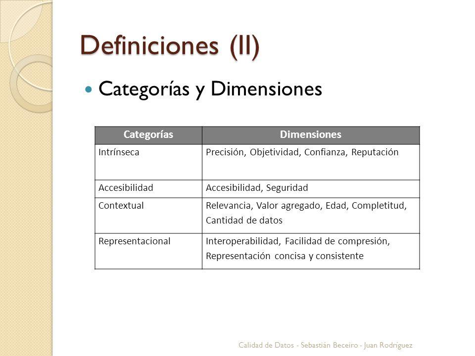 Definiciones (II) Categorías y Dimensiones Calidad de Datos - Sebastián Beceiro - Juan Rodríguez CategoríasDimensiones IntrínsecaPrecisión, Objetivida