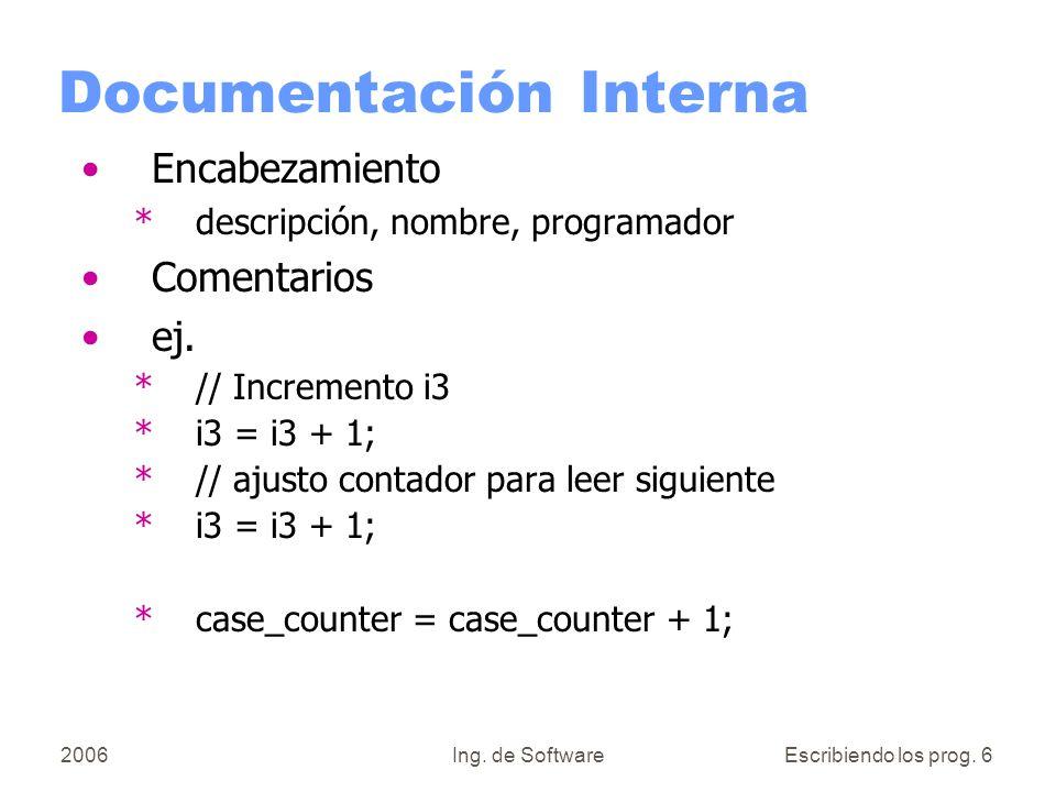 2006Ing.de SoftwareEscribiendo los prog.