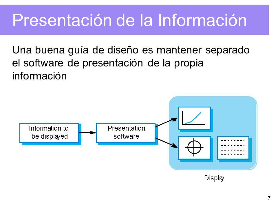 7 Presentación de la Información Una buena guía de diseño es mantener separado el software de presentación de la propia información Information to be