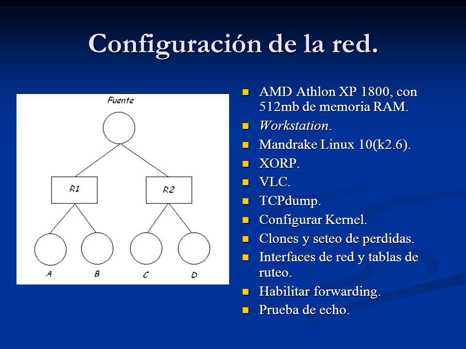 Configuración de la red. AMD Athlon XP 1800, con 512mb de memoria RAM. Workstation. Mandrake Linux 10(k2.6). XORP. VLC. TCPdump. Configurar Kernel. Cl